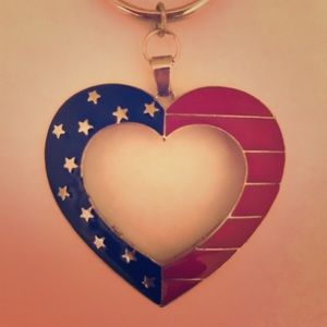 Handbags - Silver American Flag Heart Bag Chain